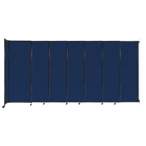 """Wall-Mounted StraightWall Sliding Partition 15'6"""" x 7'6"""" Navy Blue Fabric"""