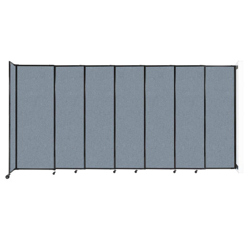"""Wall-Mounted StraightWall Sliding Partition 15'6"""" x 7'6"""" Powder Blue Fabric"""