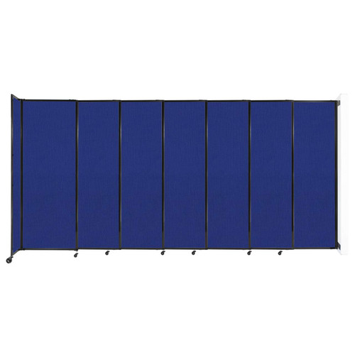 """Wall-Mounted StraightWall Sliding Partition 15'6"""" x 7'6"""" Royal Blue Fabric"""