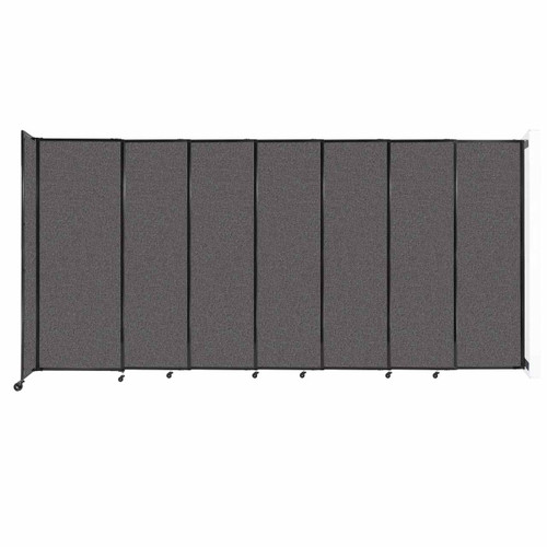 """Wall-Mounted StraightWall Sliding Partition 15'6"""" x 7'6"""" Charcoal Gray Fabric"""