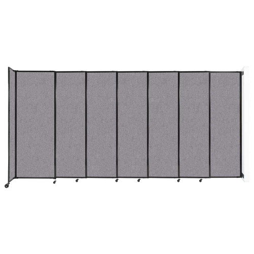 """Wall-Mounted StraightWall Sliding Partition 15'6"""" x 7'6"""" Cloud Gray Fabric"""