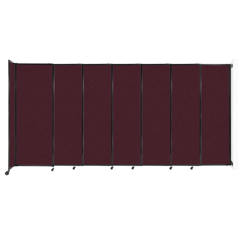 """Wall-Mounted StraightWall Sliding Partition 15'6"""" x 7'6"""" Cranberry Fabric"""