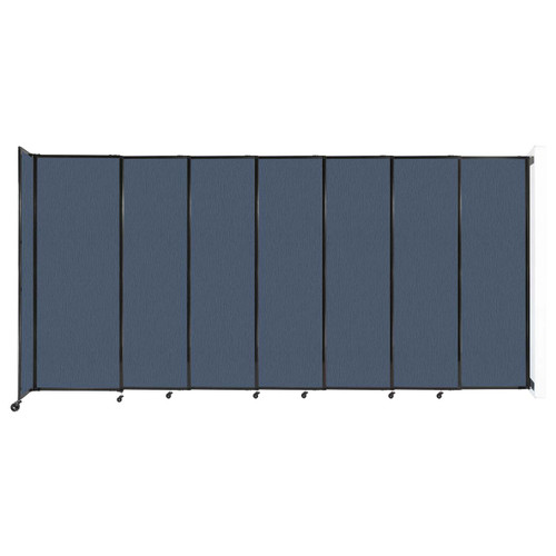 """Wall-Mounted StraightWall Sliding Partition 15'6"""" x 7'6"""" Ocean Fabric"""