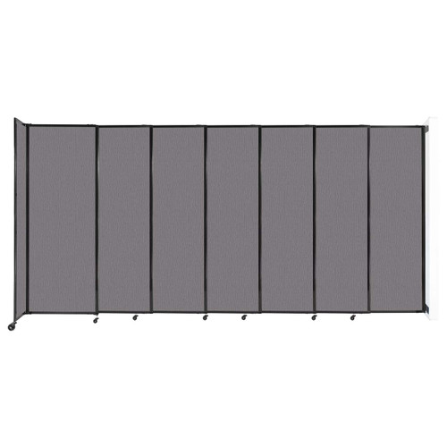 """Wall-Mounted StraightWall Sliding Partition 15'6"""" x 7'6"""" Slate Fabric"""