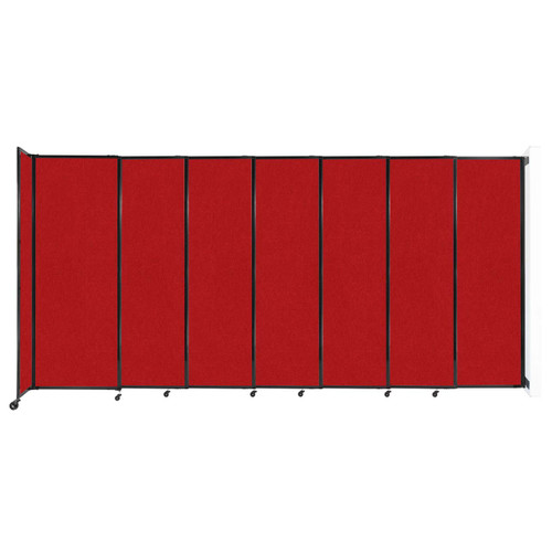 """Wall-Mounted StraightWall Sliding Partition 15'6"""" x 7'6"""" Red Fabric"""