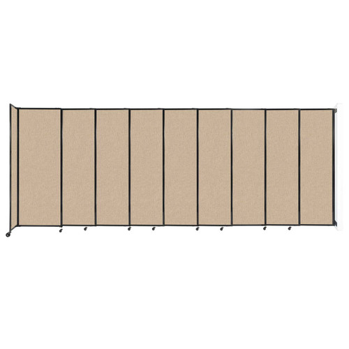 """Wall-Mounted StraightWall Sliding Partition 19'9"""" x 7'6"""" Beige Fabric"""