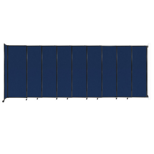 """Wall-Mounted StraightWall Sliding Partition 19'9"""" x 7'6"""" Navy Blue Fabric"""