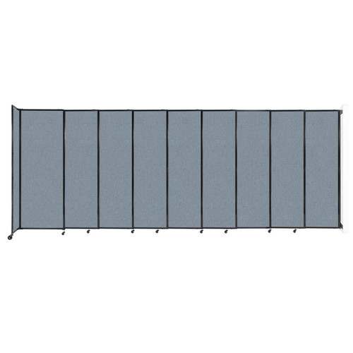 """Wall-Mounted StraightWall Sliding Partition 19'9"""" x 7'6"""" Powder Blue Fabric"""