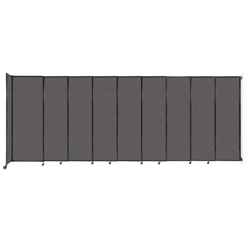 """Wall-Mounted StraightWall Sliding Partition 19'9"""" x 7'6"""" Charcoal Gray Fabric"""