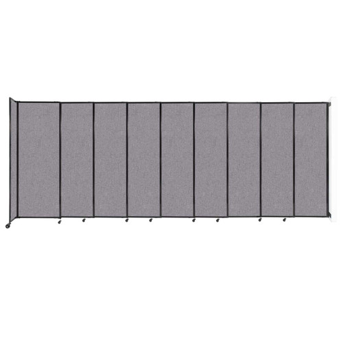 """Wall-Mounted StraightWall Sliding Partition 19'9"""" x 7'6"""" Cloud Gray Fabric"""