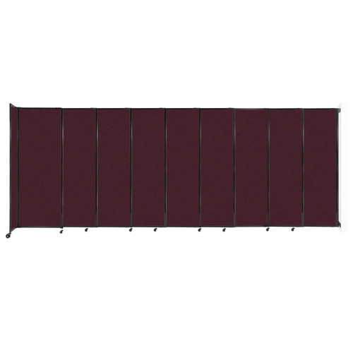 """Wall-Mounted StraightWall Sliding Partition 19'9"""" x 7'6"""" Cranberry Fabric"""