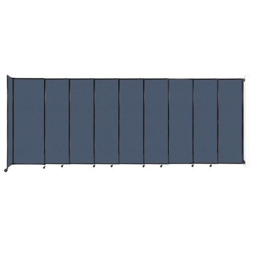 """Wall-Mounted StraightWall Sliding Partition 19'9"""" x 7'6"""" Ocean Fabric"""