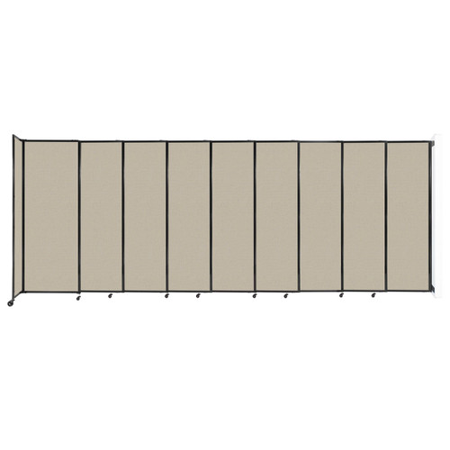 """Wall-Mounted StraightWall Sliding Partition 19'9"""" x 7'6"""" Sand Fabric"""