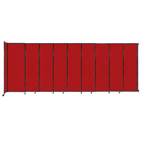"""Wall-Mounted StraightWall Sliding Partition 19'9"""" x 7'6"""" Red Fabric"""