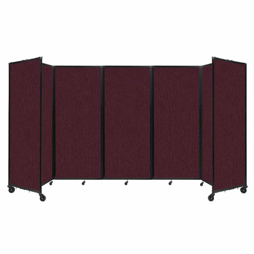 """Room Divider 360 Folding Portable Partition 14' x 6'10"""" Cranberry Fabric"""