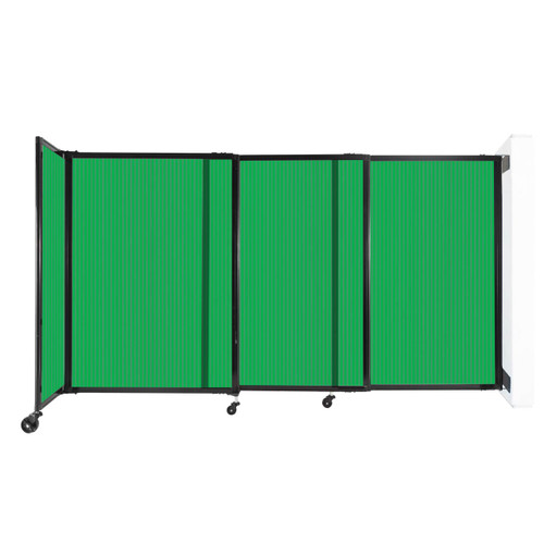 """StraightWall Wall-Mounted Sliding Partition 7'2"""" x 4' Green Poly Polycarbonate"""