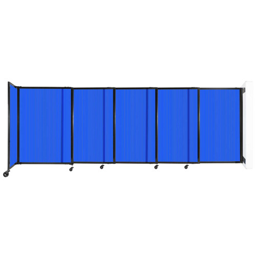 """StraightWall Wall-Mounted Sliding Partition 11'3"""" x 4' Blue Poly Polycarbonate"""
