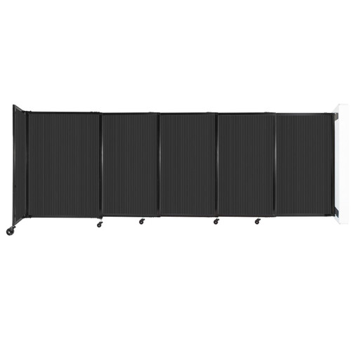 """StraightWall Wall-Mounted Sliding Partition 11'3"""" x 4' Dark Gray Poly Polycarbonate"""