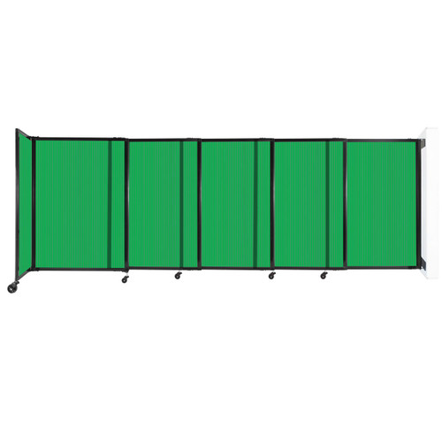 """StraightWall Wall-Mounted Sliding Partition 11'3"""" x 4' Green Poly Polycarbonate"""