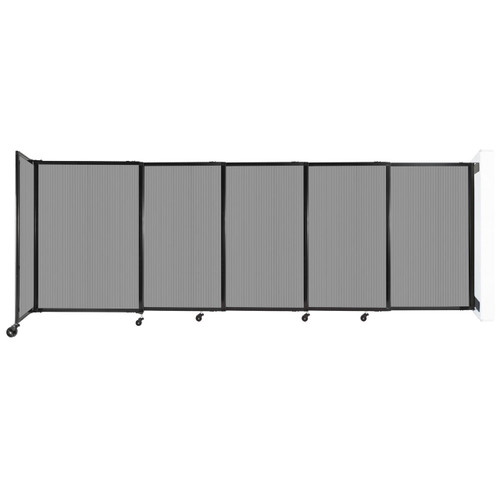 """StraightWall Wall-Mounted Sliding Partition 11'3"""" x 4' Light Gray Poly Polycarbonate"""