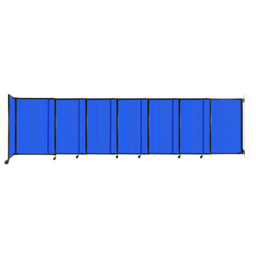 """StraightWall Wall-Mounted Sliding Partition 15'6"""" x 4' Blue Poly Polycarbonate"""