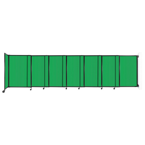 """StraightWall Wall-Mounted Sliding Partition 15'6"""" x 4' Green Poly Polycarbonate"""