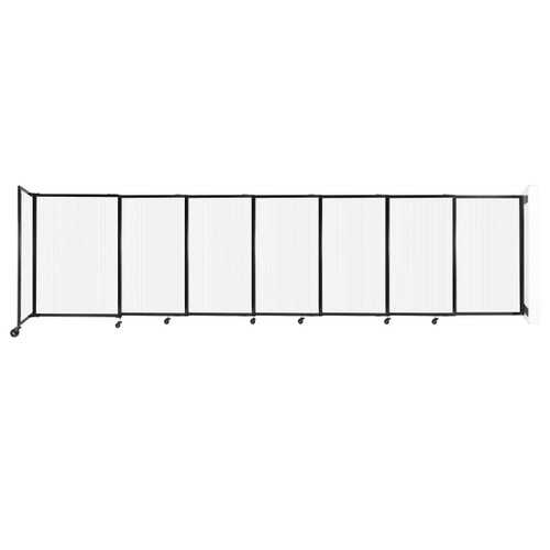 """StraightWall Wall-Mounted Sliding Partition 15'6"""" x 4' Opal Poly Polycarbonate"""