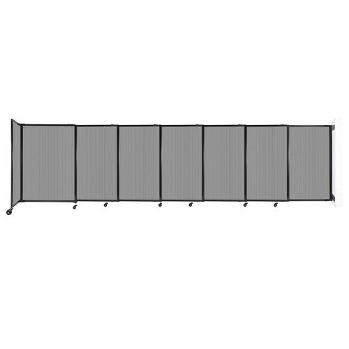 """StraightWall Wall-Mounted Sliding Partition 15'6"""" x 4' Light Gray Poly Polycarbonate"""