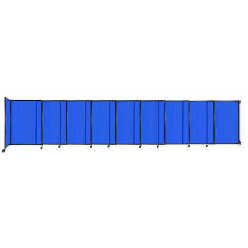 """StraightWall Wall-Mounted Sliding Partition 19'9"""" x 4' Blue Poly Polycarbonate"""