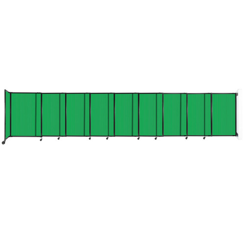 """StraightWall Wall-Mounted Sliding Partition 19'9"""" x 4' Green Poly Polycarbonate"""