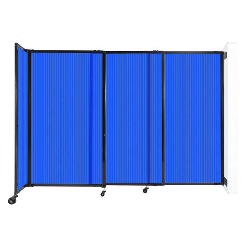"""StraightWall Wall-Mounted Sliding Partition 7'2"""" x 5' Blue Poly Polycarbonate"""