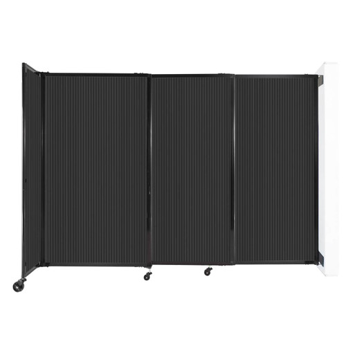 """StraightWall Wall-Mounted Sliding Partition 7'2"""" x 5' Dark Gray Poly Polycarbonate"""