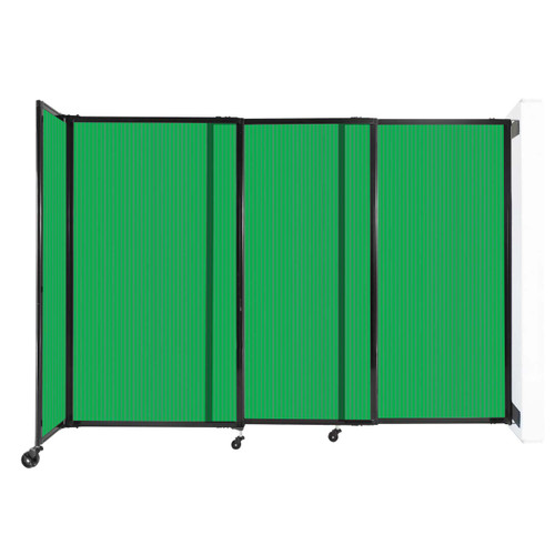 """StraightWall Wall-Mounted Sliding Partition 7'2"""" x 5' Green Poly Polycarbonate"""