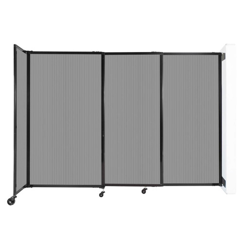 """StraightWall Wall-Mounted Sliding Partition 7'2"""" x 5' Light Gray Poly Polycarbonate"""