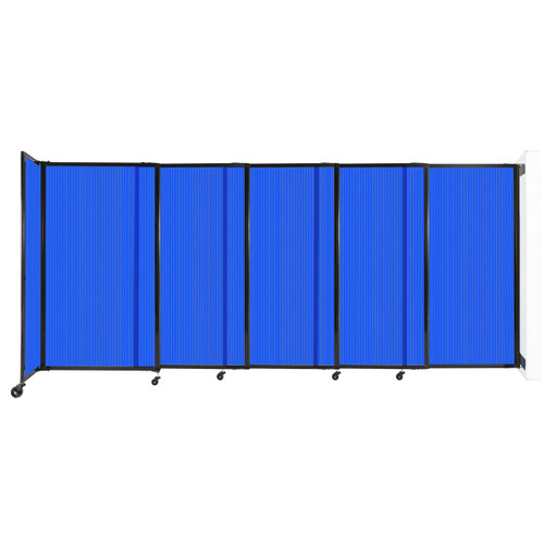 """StraightWall Wall-Mounted Sliding Partition 11'3"""" x 5' Blue Poly Polycarbonate"""