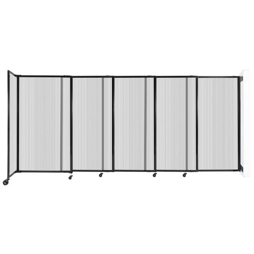 """StraightWall Wall-Mounted Sliding Partition 11'3"""" x 5' Clear Poly Polycarbonate"""