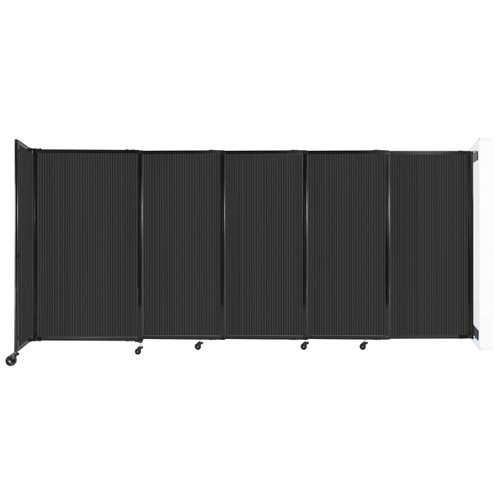 """StraightWall Wall-Mounted Sliding Partition 11'3"""" x 5' Dark Gray Poly Polycarbonate"""