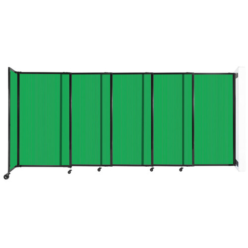 """StraightWall Wall-Mounted Sliding Partition 11'3"""" x 5' Green Poly Polycarbonate"""