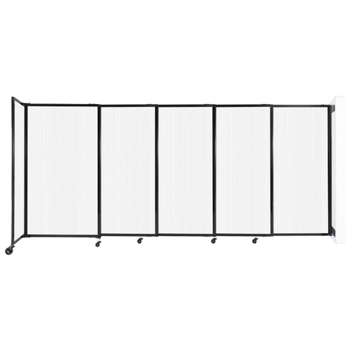 """StraightWall Wall-Mounted Sliding Partition 11'3"""" x 5' Opal Poly Polycarbonate"""