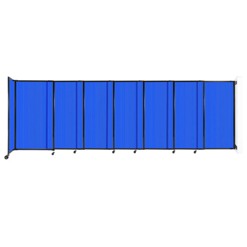 """StraightWall Wall-Mounted Sliding Partition 15'6"""" x 5' Blue Poly Polycarbonate"""