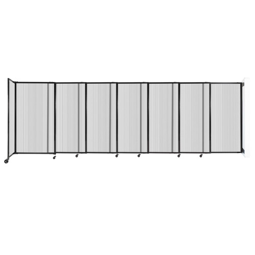 """StraightWall Wall-Mounted Sliding Partition 15'6"""" x 5' Clear Poly Polycarbonate"""