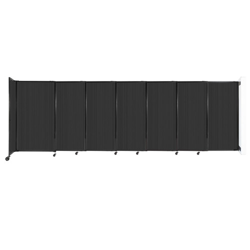 """StraightWall Wall-Mounted Sliding Partition 15'6"""" x 5' Dark Gray Poly Polycarbonate"""