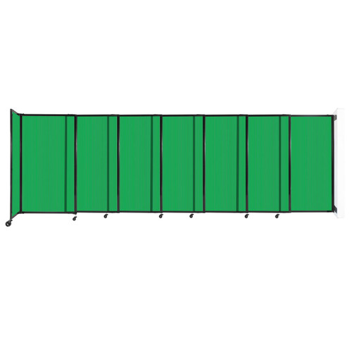 """StraightWall Wall-Mounted Sliding Partition 15'6"""" x 5' Green Poly Polycarbonate"""