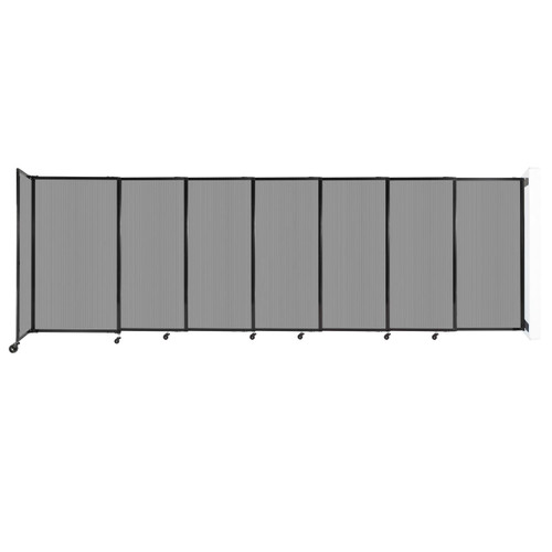 """StraightWall Wall-Mounted Sliding Partition 15'6"""" x 5' Light Gray Poly Polycarbonate"""