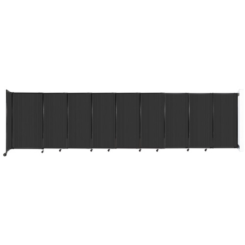 """StraightWall Wall-Mounted Sliding Partition 19'9"""" x 5' Dark Gray Poly Polycarbonate"""