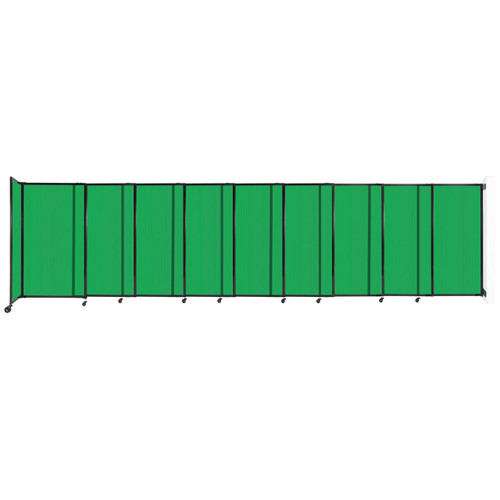 """StraightWall Wall-Mounted Sliding Partition 19'9"""" x 5' Green Poly Polycarbonate"""
