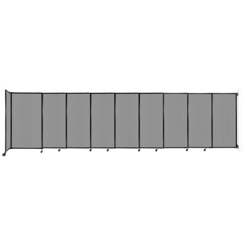 """StraightWall Wall-Mounted Sliding Partition 19'9"""" x 5' Light Gray Poly Polycarbonate"""