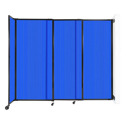 """StraightWall Wall-Mounted Sliding Partition 7'2"""" x 6' Blue Poly Polycarbonate"""