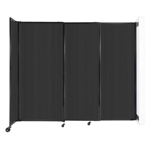 """StraightWall Wall-Mounted Sliding Partition 7'2"""" x 6' Dark Gray Poly Polycarbonate"""