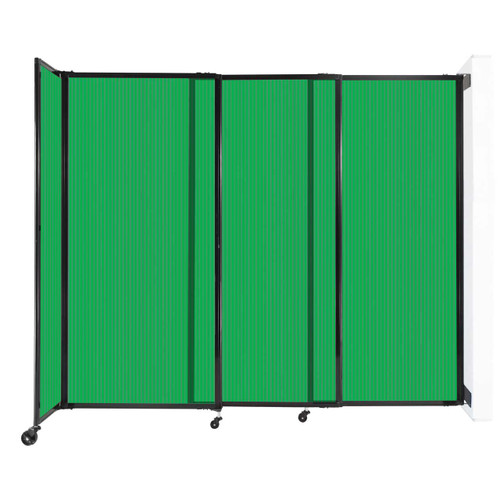 """StraightWall Wall-Mounted Sliding Partition 7'2"""" x 6' Green Poly Polycarbonate"""